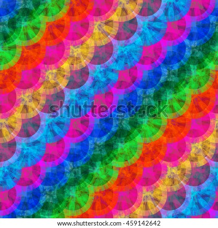 Diagonal rows of circles. Abstract seamless vector background. Openwork colored texture. For print, tissue, packaging paper. Watercolor effect. Rainbow template
