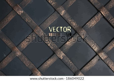 diagonal steel grille . background wrought iron. Vector - stock vector