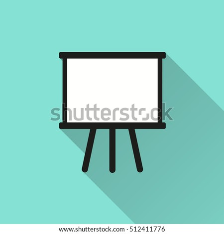 Diagram board vector icon with long shadow. Illustration isolated for graphic and web design.