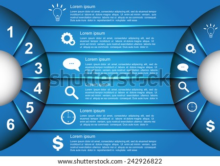 Diagram Circle Design, Glowing Semi-Circle Curve With Number -  Business Icon and Information Text Design On Blue Background, For Business/Finance Infographic. Vector Illustration - stock vector