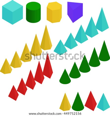 diagram. Graph chart, pyramid and prism signs. - stock vector