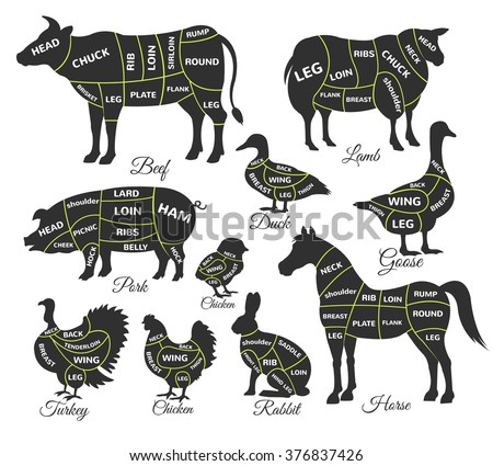 Diagram guide for cutting meat. Vector black icon illustration set - stock vector