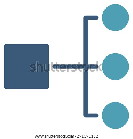 Diagram icon from Commerce Set. Vector style: bicolor flat symbol, cyan and blue colors, rounded angles, white background. - stock vector