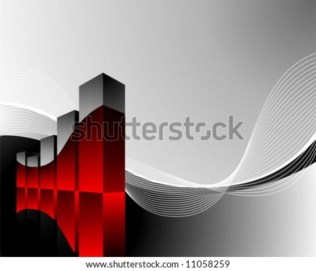 diagram illustration with wave on dark background - stock vector