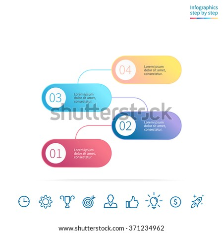 Diagram, menu, interface with 4 steps, options, parts, processes with connected elements.  Can be used for workflow layout, number options, web design, infographics. - stock vector