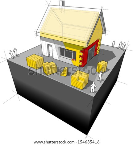 diagram of a detached house with additional wall and roof insulation (another house diagram from the collection, all have the same point of view/angle/perspective, easy to combine) - stock vector