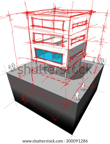 diagram of a possible  modern house redesign. adding 2 extra stories and basement
