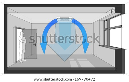 Diagram of a room cooled with air conditioner built in a suspended ceiling (another room diagram from the collection, all with the same point of view, easy to combine)  - stock vector