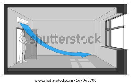 Diagram of a room cooled with wall mounted air conditioner  - stock vector