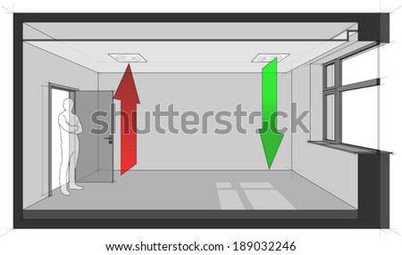 Diagram of a room ventilated by ceiling built-in air ventilation - stock vector
