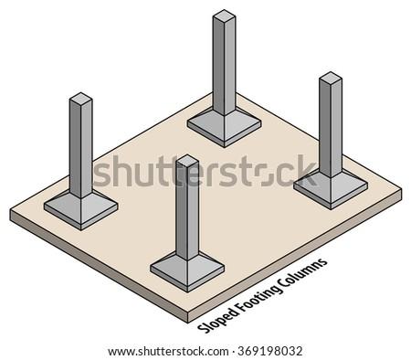 diagram set columns on sloped footings stock vector. Black Bedroom Furniture Sets. Home Design Ideas