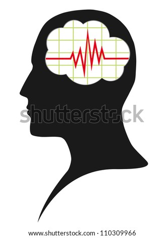 Diagram of brain activity - stock vector