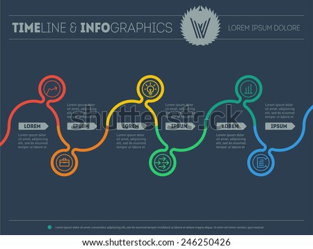 Diagram of tendencies and trends. Infographic timeline. Chart process. Vector web template with icons and design elements on dark background. - stock vector