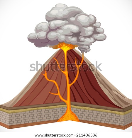 Diagram of volcano isolated on white background - stock vector