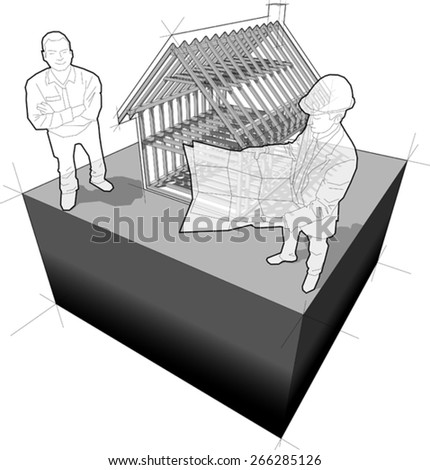 diagram of wooden framework construction of a simple detached house with architect and happy smiling customer standing in front of it  - stock vector