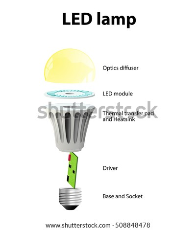 Diagram Showing Parts Modern LED Lamp Stock Vector 508848478 ...