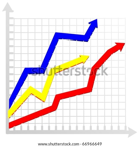 diagram with colored arrows - stock vector