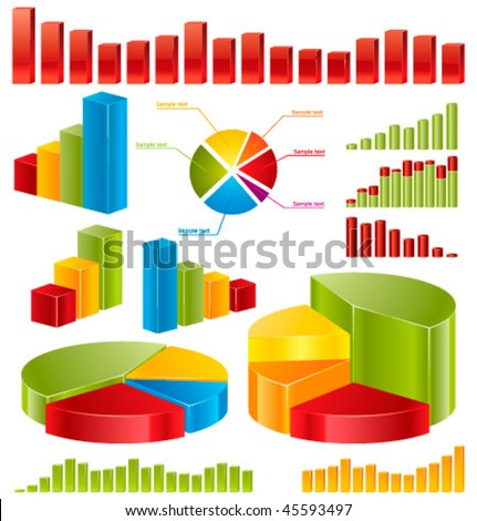Diagrams â?? set of glossy vector icons for your business presentations and reports. - stock vector