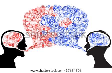 Dialog between man and woman - stock vector
