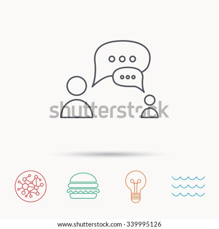 Dialog icon. Chat speech bubbles sign. Discussion messages symbol. Global connect network, ocean wave and burger icons. Lightbulb lamp symbol. - stock vector