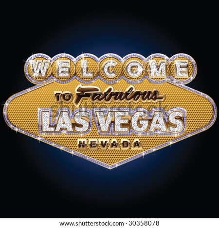 Diamond and pure gold Las vegas sign - stock vector