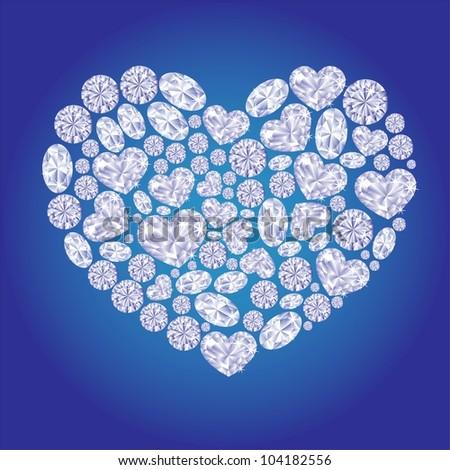 Diamond card hearts - stock vector