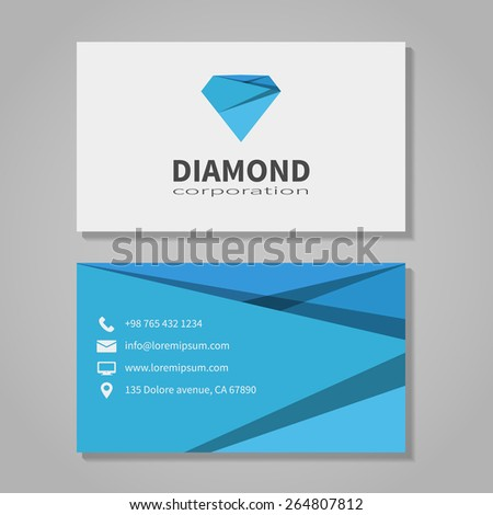 Diamond corporation business card template modern stock vector diamond corporation business card template in modern style office and visit phone number wajeb Images