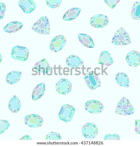 Diamond cut shapes. Blue and green. Seamless pattern. Heart, drop, emerald, oval, round shapes. Abstract hand drawn pattern with gemstones. Light background. For decoration or printing on fabric. - stock vector