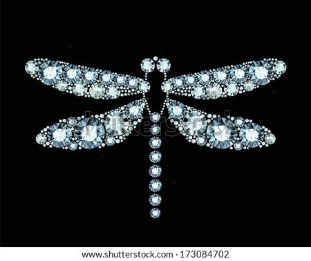 Diamond Dragonfly - stock vector