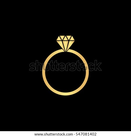Diamond Engagement Ring Gold Symbol Icon Stock Vector Royalty Free