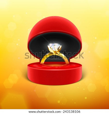 Diamond Engagement Ring in Box Vector Icon - stock vector