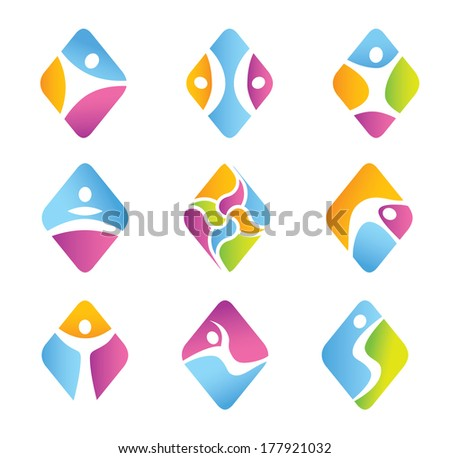 Diamond fitness symbols and icons - universal character - Flat design - vector graphics - diverse color style - stock vector