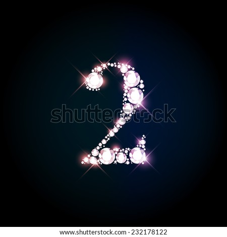 "Diamond glittering number ""2"" two of sparkling brilliants (glitter font concept) - stock vector"