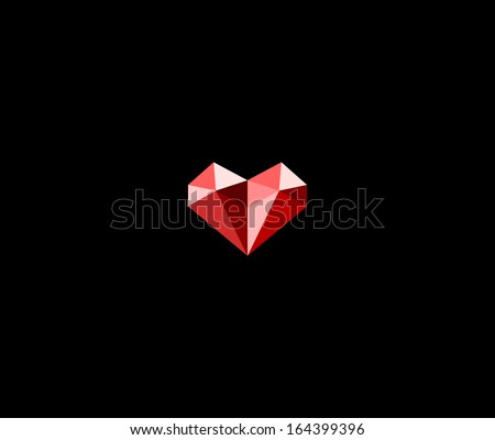 Diamond heart - stock vector