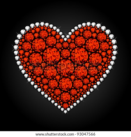 Diamond heart. Vector. - stock vector