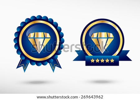 Diamond icon and stylish quality guarantee badges. Blue colorful Promotional Labels - stock vector