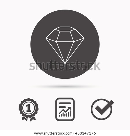 Diamond icon. Brilliant gemstone sign. Report document, winner award and tick. Round circle button with icon. Vector - stock vector