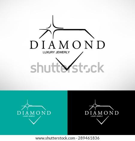 Diamond Icon in Flat Style. Logo Design. - stock vector