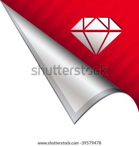 Diamond icon on vector peeled corner tab suitable for use in print, on websites, or in advertising materials. - stock vector
