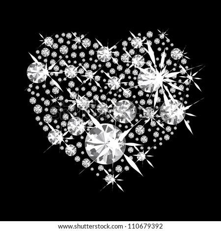 Diamond jewelery heart concept with black background and glittering jewels - stock vector