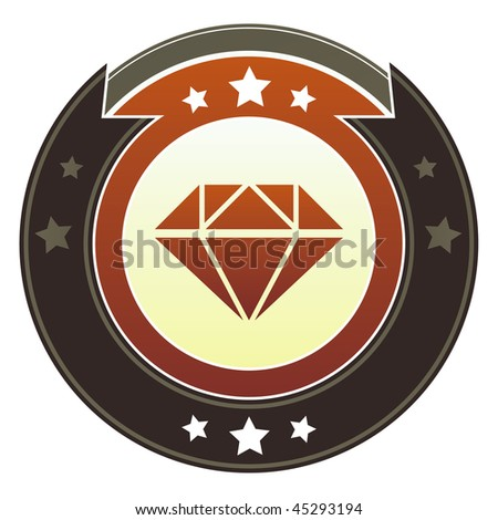 Diamond, jewelry, or anniversary icon on round red and brown imperial vector button with star accents - stock vector