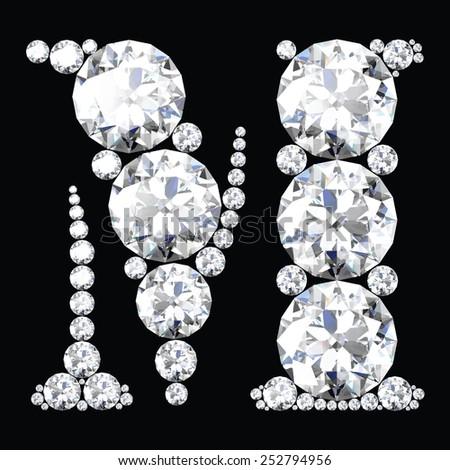 diamond letters with gemstones - stock vector