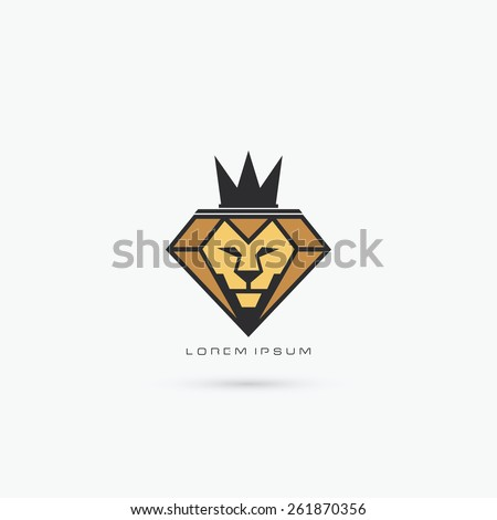 Diamond lion with crown symbol - vector illustration