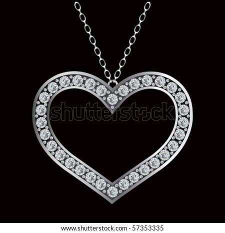 Diamond necklace - stock vector