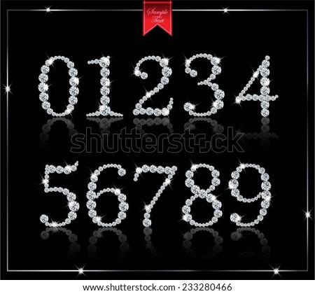 diamond numbers - stock vector