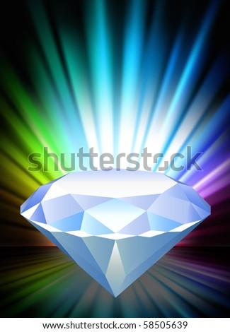 Diamond on Abstract Spectrum Background  Original Illustration - stock vector