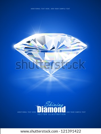 diamond on blue background vector illustration EPS10. Transparent objects and opacity masks used for shadows and lights drawing - stock vector
