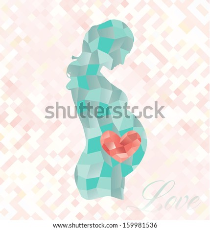 Diamond Pregnant Woman with Heart in Belly - stock vector