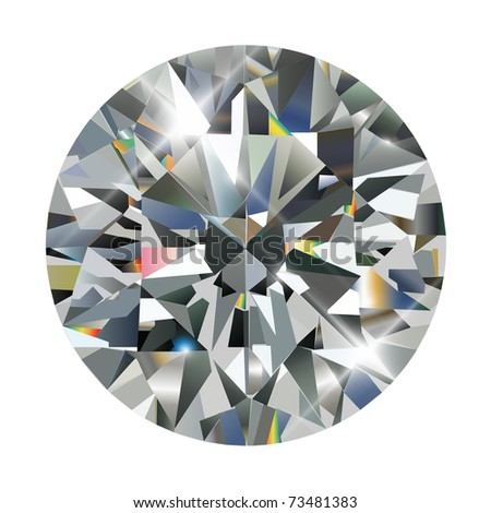 Diamond, realistic vector illustration. - stock vector