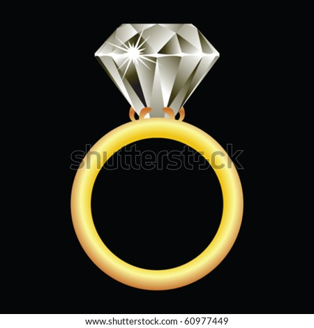 diamond ring against black background, abstract vector art illustration - stock vector